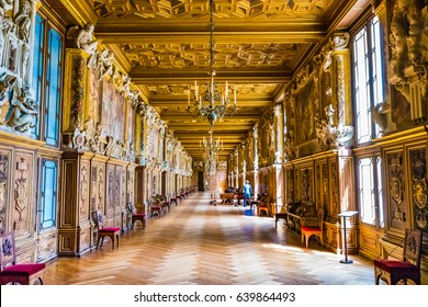 FONTAINEBLEAU, FRANCE - MAY 26, 2016 : Interior of the Royal Palace of Fontainebleau in France. The Royal Palace of Fontainebleau was one of the main palaces of French kings.