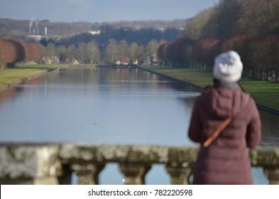 FONTAINEBLEAU GARDEN - DECEMBER 2017: View of Le Gran Canal from FONTAINEBLEAU Palace Garden, Fontainebleau, Paris/France.