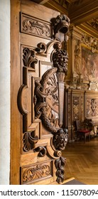 Fontainebleau, Seine-et-Marne, France - June 18, 2018: Ancient 16th century carved door leading into the Gallery of Francis I, connecting the King's apartments with the chapel in Fontainebleau.