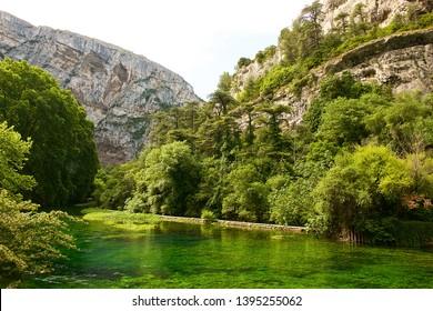 Fontaine-de-Vaucluse, France-06 16 2015:  Fontaine-de-Vaucluse is a commune in the Vaucluse department in the Provence-Alpes-Côte d'Azur region in southeastern France.