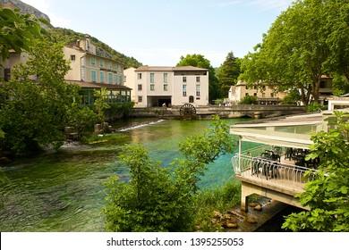 Fontaine-de-Vaucluse, France-06 16 2015:  Fontaine-de-Vaucluse is a village in the Vaucluse department in the Provence-Alpes-Côte d'Azur region in southeastern France.