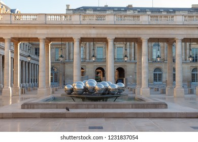 Fontaines de Pol Bury in the Royal Palace (Palais-Royal) courtyard. Paris, France