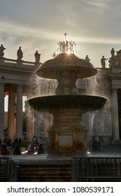 """fontana of bernini in Saint Peter's Square in The Vatican Translation: """"Paul 6 pope recovered"""""""