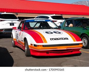 Fontana, California USA - Nov. 8, 2018: Vintage Mazda Race car on Display