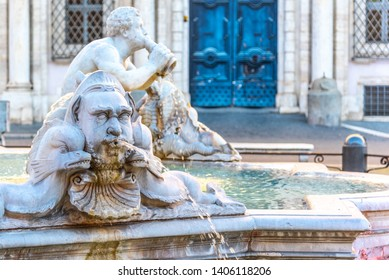 Fontana del Moro, or Moor Fountain, on Piazza Navona, Rome, Italy. Detailed view of sculptures.