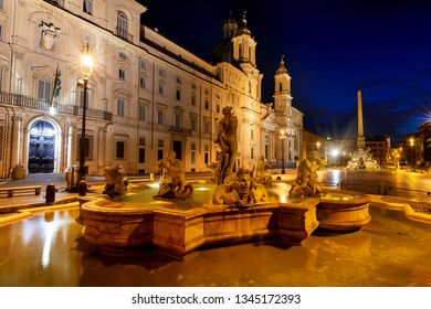 Fontana del Moro on piazza Navona in Rome, Italy