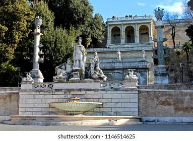 The Fontana della Dea di Roma, a fountain in Piazza del Popolo, Rome, Italy