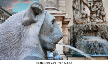 Fontana dell'Acqua Felice,aka the Fountain of Moses,  located in the Quirinale District of Rome, Italy