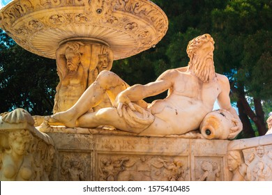 Fontana di Orione - Marbles Fountain of Orion. Grand 16th-century fountain with statues of mythological figures built to celebrate running water. Messina, Sicily, Italy
