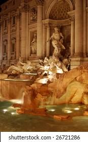 Fontana di Trevi (Trevi Fountain) at Night, Rome, Italy