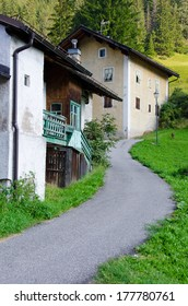 Fontanazzo di Fassa view and old houses, Dolomites, Trentino-Alto-Adige, Italy