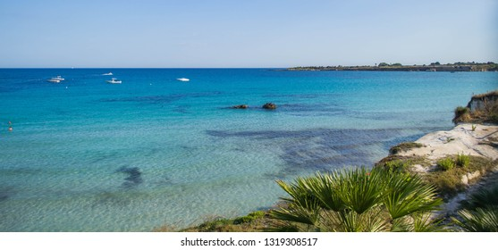 Fontane Bianche, Siracusa, Italy - 06/28/2018: The amazing caribbean sea of Sicily