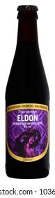 FONTE, VENICE, ITALY - MARCH 2018. Bottle of English Beer Thornbridge Eldon 33cl, 8%Vol.