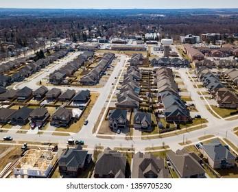 Fonthill, Ontario/Canada - April 2019: Aerial Subdivision View