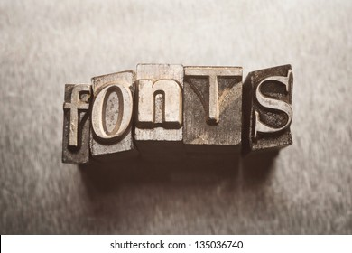 Fonts letters with vintage grunge letterpress type