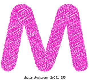 Fonts stripes pink line,M letter