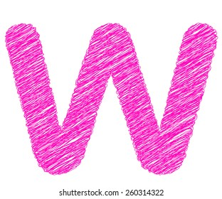 Fonts stripes pink line,W letter