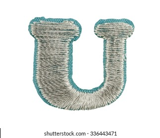Fonts that are stitched with thread isolated on white capitol letter U