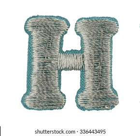 Fonts that are stitched with thread isolated on white capitol letter H