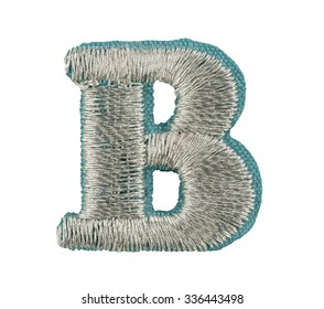 Fonts that are stitched with thread isolated on white capitol letter B
