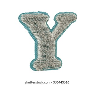 Fonts that are stitched with thread isolated on white capitol letter Y