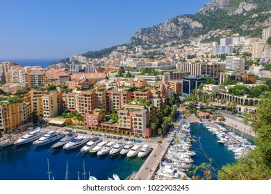 Fontvieille harbour view, town of Montecarlo, Monaco, luxury yachts in the bay