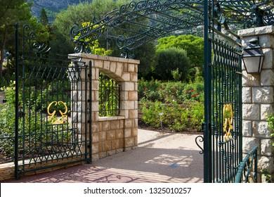 Fontvieille / Principality of Monaco - 02.09.2018: Entrance gate of Princess Grace Rose Garden (Roseraie Princesse Grace)