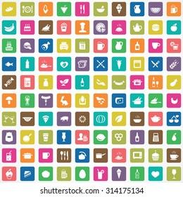 food 100 icons universal set for web and mobile