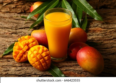 Food abstract background-Mango juice with slices .