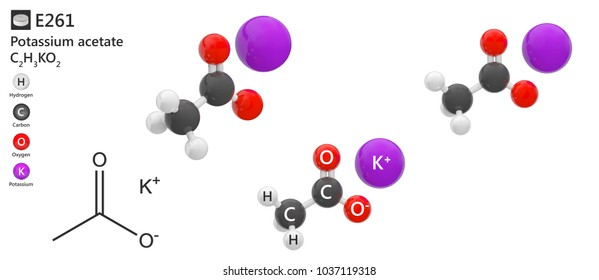 Food additive E261(preservative and acidity regulator). Potassium acetate (molecular formula: C2H3KO2 ) is a compound used as a food preservative. Isolated on white background. 3D illustration.