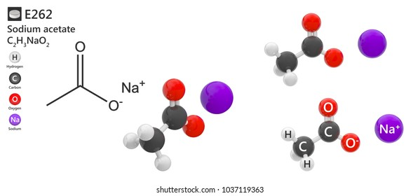 Food additive E262 (preservative and acidity regulator). Sodium acetate is a compound used as a food preservative. 3d illustration. The molecule is represented in different structures.