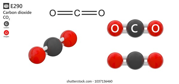 Food additive E290 (preservative and acidity regulator). Carbon dioxide (CO2) is a compound used as a food preservative. 3d illustration. The molecule is represented in different structures.