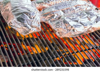 food in aluminum Foil, Barbecue Grill cooking background eat Restaurant