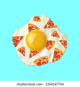 Food art collage . Concept egg pizza.