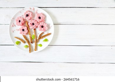 Food art - rice flowers on the plate