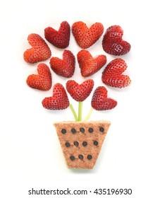 Food art - Strawberry flowers