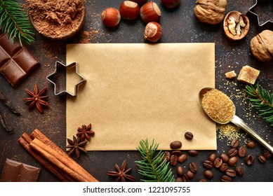 Food background with christmas spices on a dark slate, stone or concrete background.Top view with copy space.