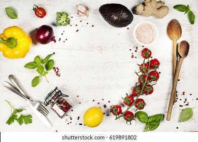 Food. Food background. Clean, vegan, vegetarian eating. Frame, Flat lay, overhead