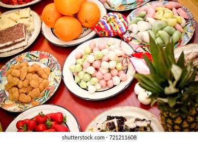 food background with fresh fruits and sticky rice cakes