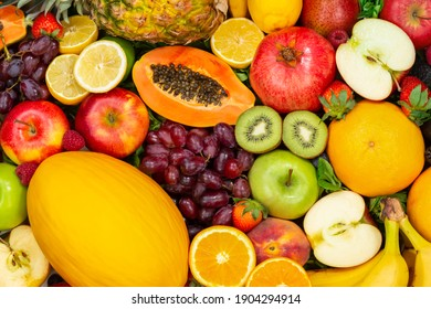 Food background fruits collection apples berries kiwi oranges fruit backgrounds