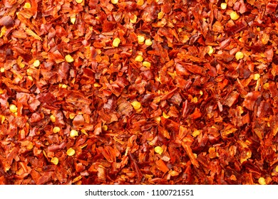 food background of red pepper flakes, top view