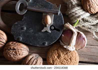 Food background, rural market, walnuts on wooden table.