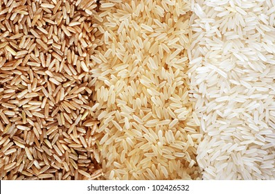 Food background with three rows of rice varieties : brown rice, mixed wild rice, white (jasmine) rice.