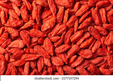 food backgrounds of dried Chinese wolfberries, top view