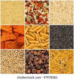 Food backgrounds. Rice, pasta, lentils, millet, dried vegetables, tea, noodles, chips, raisins.