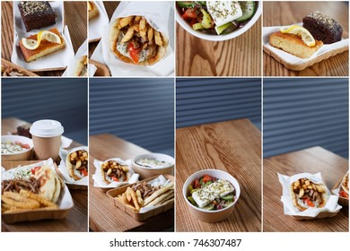 Food background.Traditional Greek street food menu in restaurant.Fast food menu from Greece