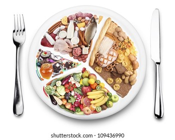 Food balance products  on a plate. Diet concept. White background.