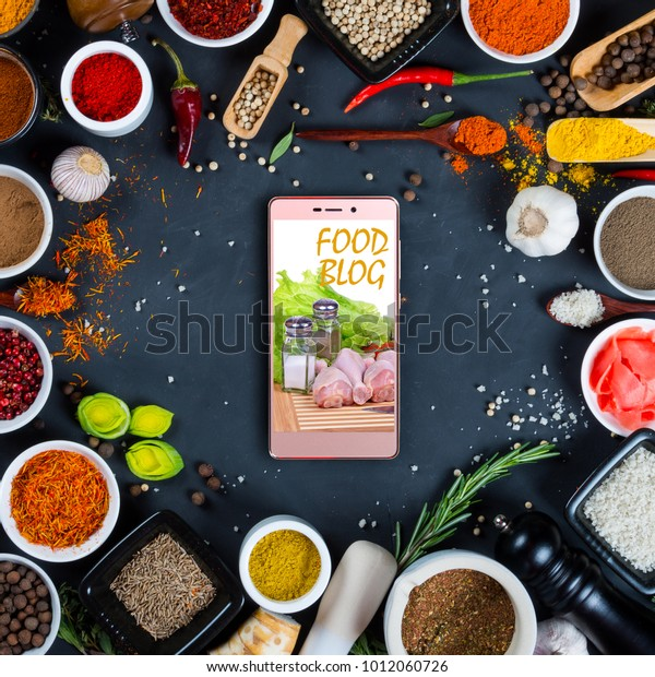 Food Blog Concept Indian Spices Herbs Food And Drink Stock