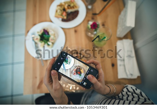 Food Blogger Making Photos Instagram Her Stock Photo (Edit