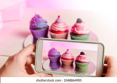 Food blogging concept, sweets blog